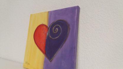 Herzbild oronge lila rot abstrakt mit Acrylfarbe Unikat Handsigniert