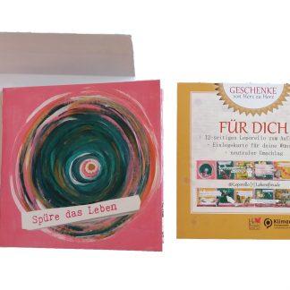 Leporello Lebe-glücklich Collage Lebensfreude 12-seitiges Faltbuch zum Aufstellen für mehr Achtsamkeit im Alltag