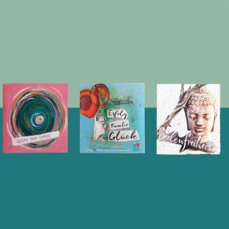 Leporello - Das kleine Faltbuch 1x 3er Set Geschenkkarten, Glückwunschkarten, Lebe-glücklich-Collage, Collage, Geschenk