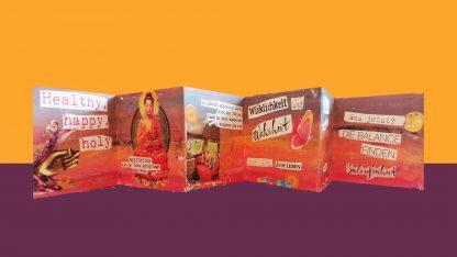 Leporello Wellfeeling Glückwunschkarte zum Verschenken Faltkarte, Leporello Wellfeeling Glückwunschkarte zum Verschenken Faltkarte, Glückwunschkarten, Lebe-glücklich-Collage, Collage, Geschenk
